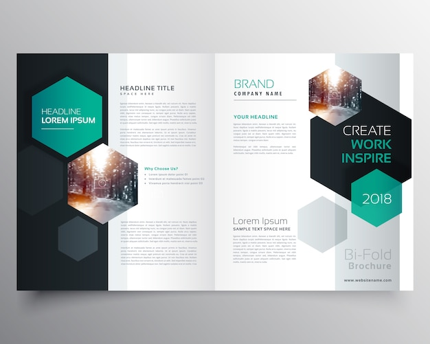Brochure template with hexagonal shapes Vector   Free Download Brochure template with hexagonal shapes Free Vector