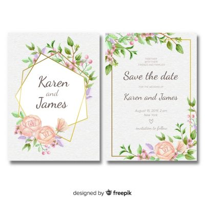 Floral wedding invitation template with golden frame ...