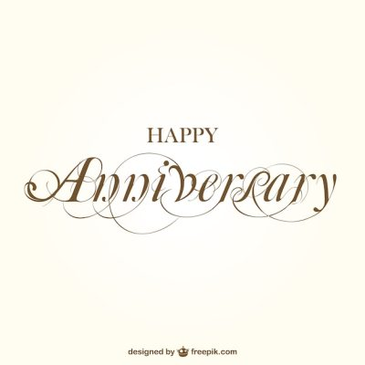 Happy anniversary calligraphy Vector | Free Download