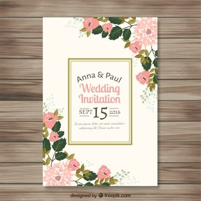 Wedding invitation with pretty floral details Vector ...