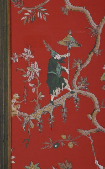 Pair of French Chinoiserie Wallpaper Panels, Circa 1910