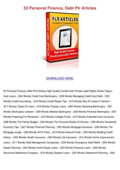 52 Personal Finance Debt Plr Articles by Gwenn Muirhead - issuu