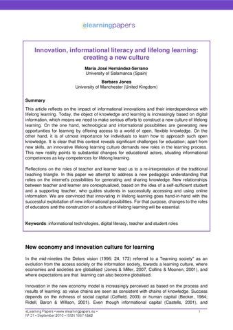 Innovation, informational literacy and lifelong learning: creating a new culture by Giorgio ...