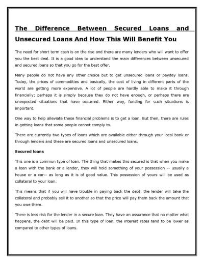 The Difference Between Secured Loans and Unsecured Loans And How This Will Benefit You by Henry ...