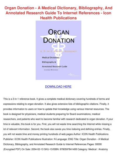 Organ Donation A Medical Dictionary Bibliogra by doris l. - Issuu