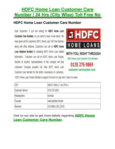 HDFC Home Loan Customer Care Number by customercarenum - Issuu