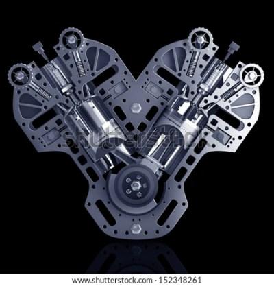 V8 Car Engine. Concept Of Modern Car Engine Isolated On Black Background. High Resolution 3d ...
