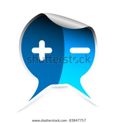 Blue Sticker With Plus And Minus Symbols Stock Vector Illustration 83847757 : Shutterstock