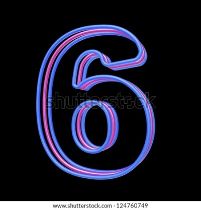 3d Neon Number 6 Isolated On Black Background Stock Photo 124760749 : Shutterstock