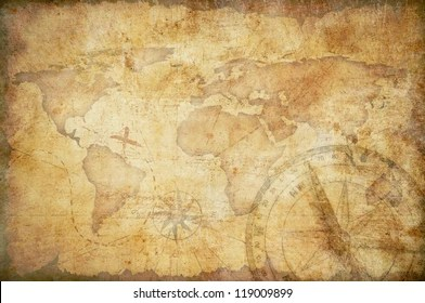 Treasure Map Images  Stock Photos   Vectors   Shutterstock aged treasure map with compass background