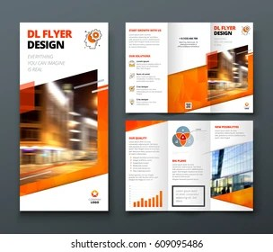 Tri Fold Brochure Images  Stock Photos   Vectors   Shutterstock Tri fold brochure design  Orange DL Corporate business template for try fold  brochure or flyer