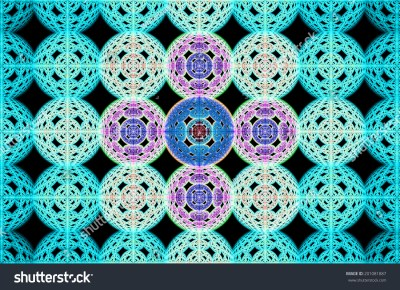 Abstract Fractal Grid Background Made Out Of Large Interconnected Balls In Cyan, Pink And Blue ...