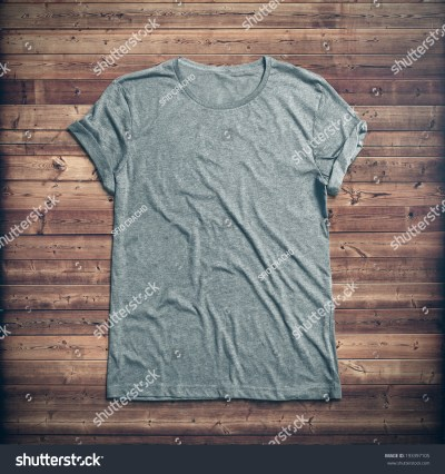 Grey T-Shirt On Wood Background Stock Photo 193397105 : Shutterstock