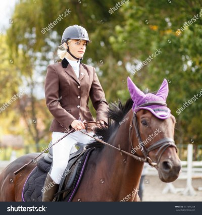 Young Rider Girl On Horse Dressage Stock Photo 637475248 ...