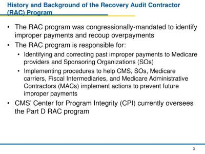 PPT - CMS Center For Program Integrity (CPI) Part D Recovery Audit Contractor (RAC) Program ...