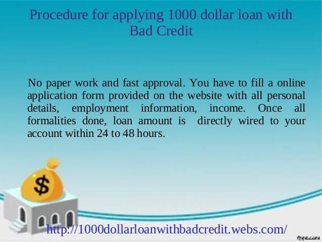 1000 dollar loan for bad credit: Get up to $1000 instantly