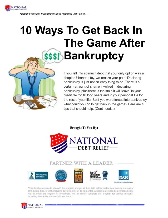 10 ways to get back in the game after bankruptcy