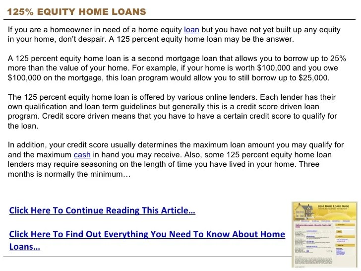 Home Equity Loan 100 Percent Loan To Value - Homemade Ftempo