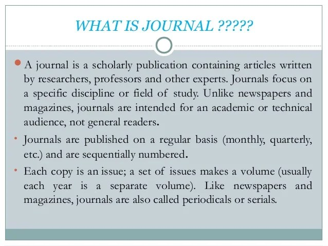 journal and impact factor