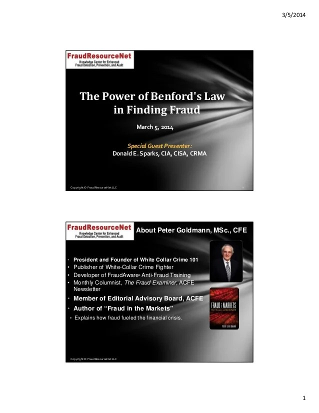 The Power of Benford's Law in Finding Fraud