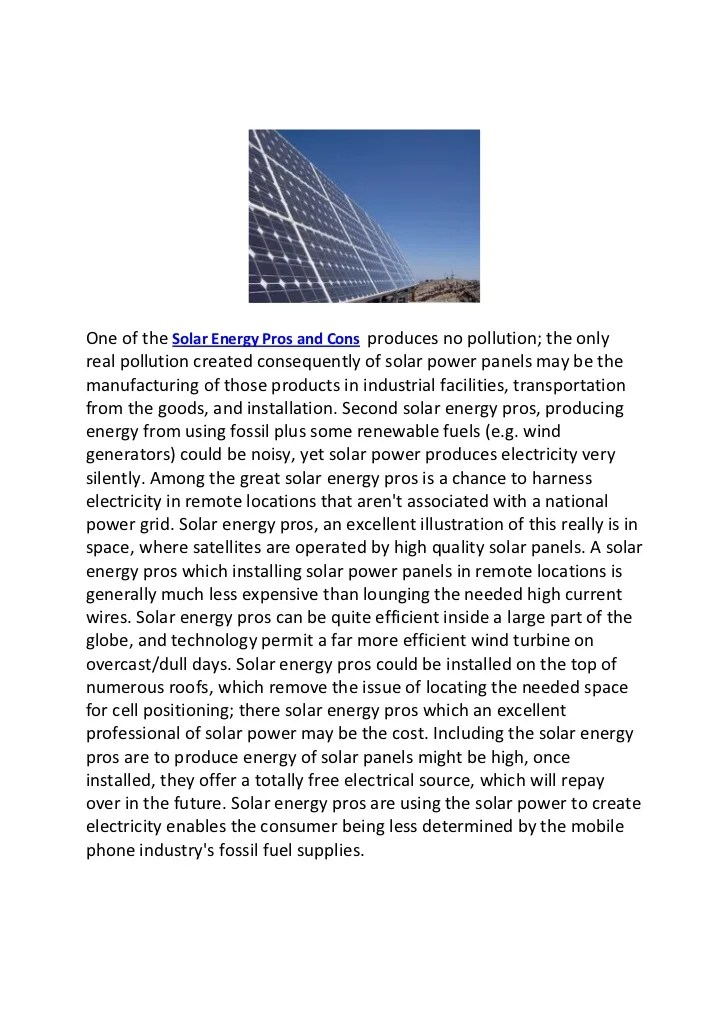 2 solar energy pros and cons