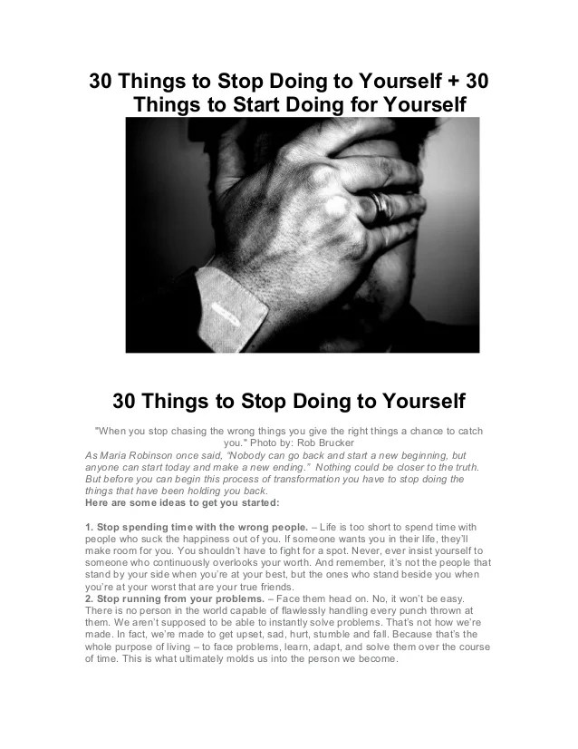 30 Things to Stop Doing to Yourself + 30 Things to Start Doing for Yo…