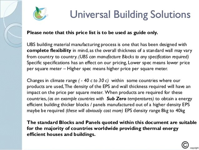 UBS Client price list PDF