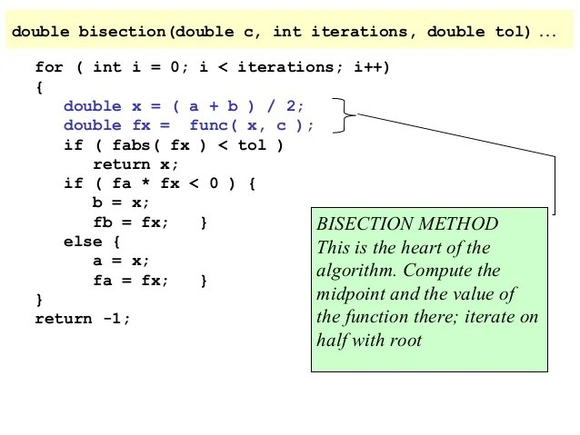 Write a program to implement bisection method in c
