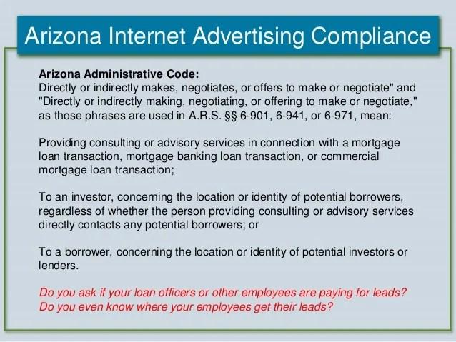 2012 Arizona Mortgage Lending Internet Advertising Compliance