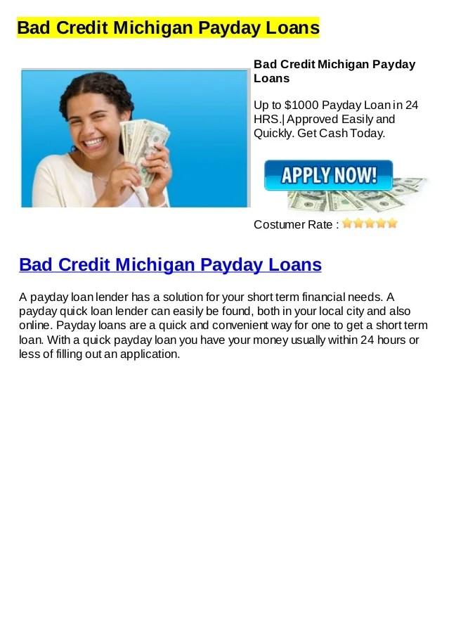 Bad credit michigan payday loans
