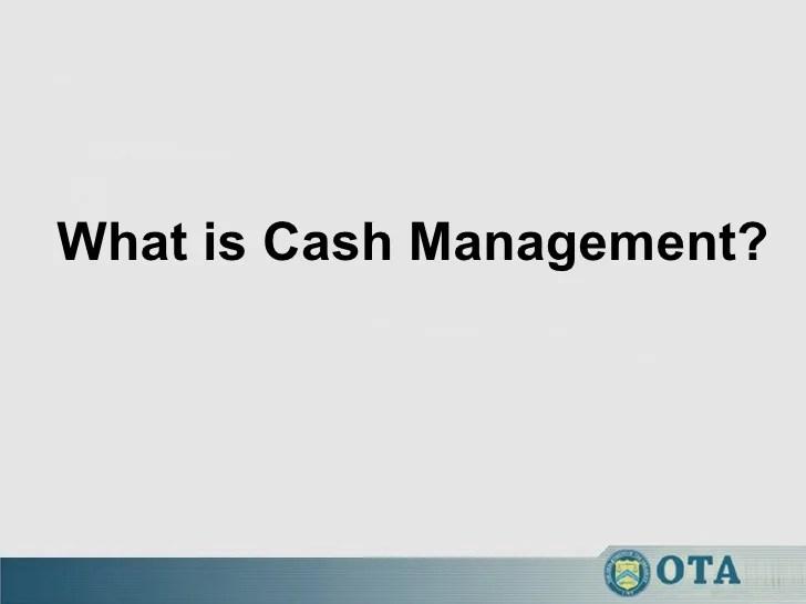 Cash management workshop english