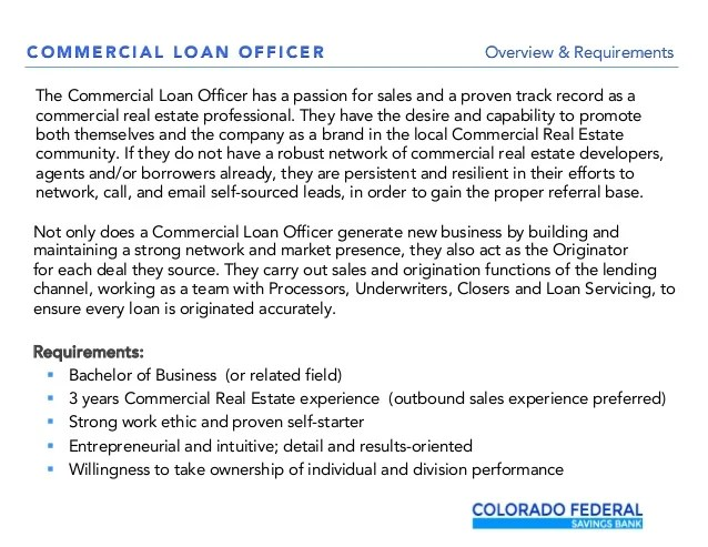 Commercial Real Estate Loan Officer - Job Opening