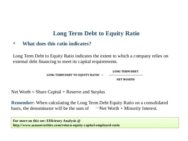 Long Term Debt to Equity Ratio