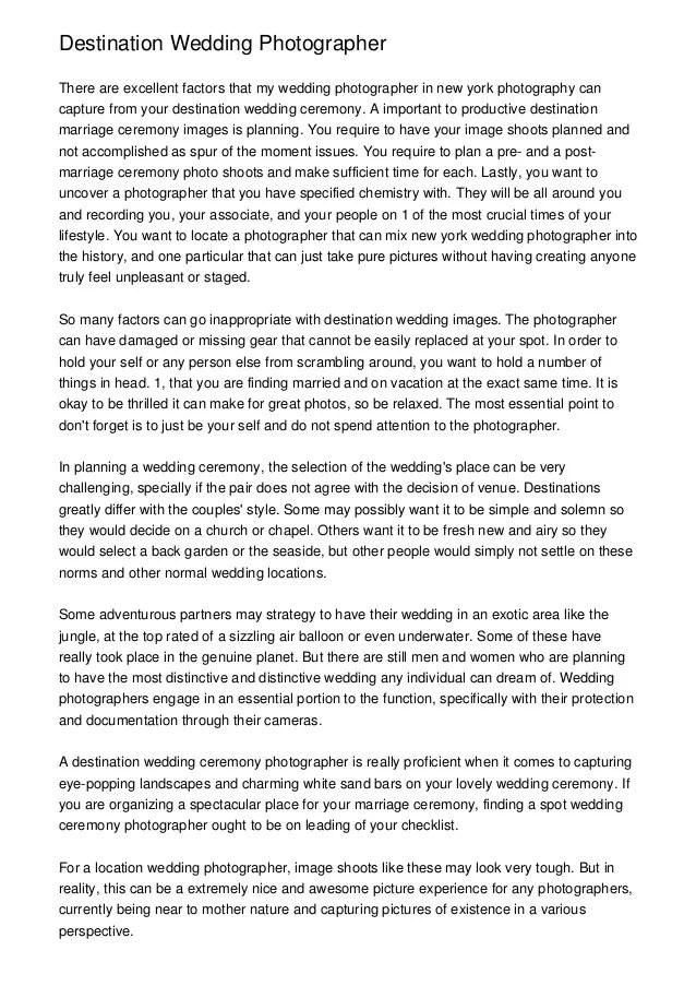 Destination Wedding Photography Contract Example ...