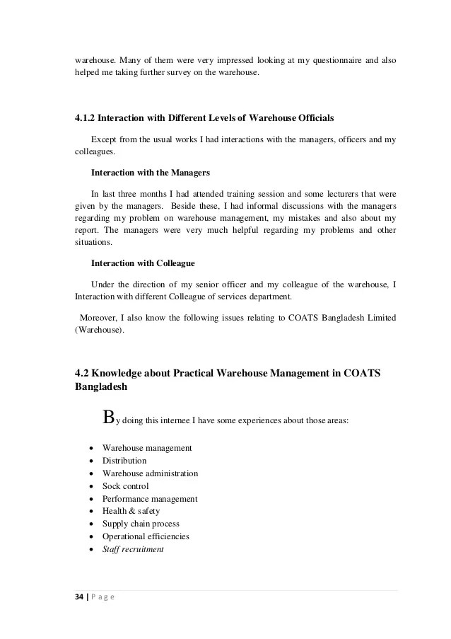 Evaluation of Warehouse Management of COATS Bangladesh Ltd