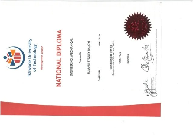 National Diploma Mechanical Certificate
