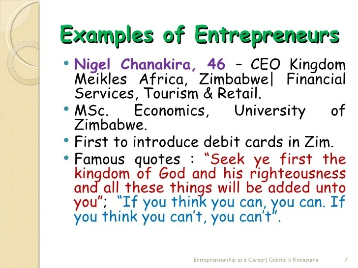 Entrepreneurship as a career