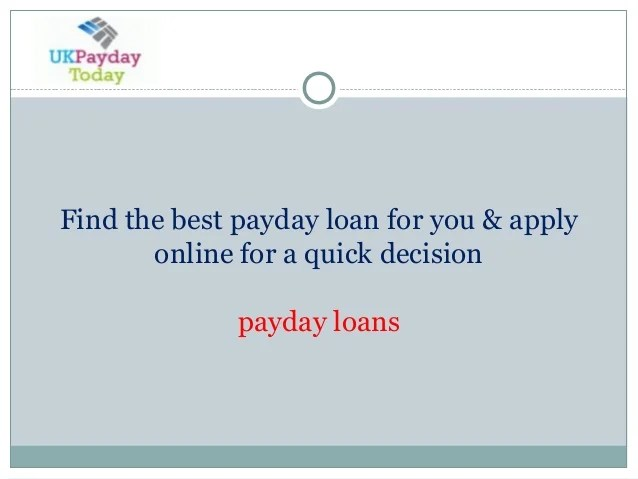 Find the best payday loan for you & apply online for a quick decision