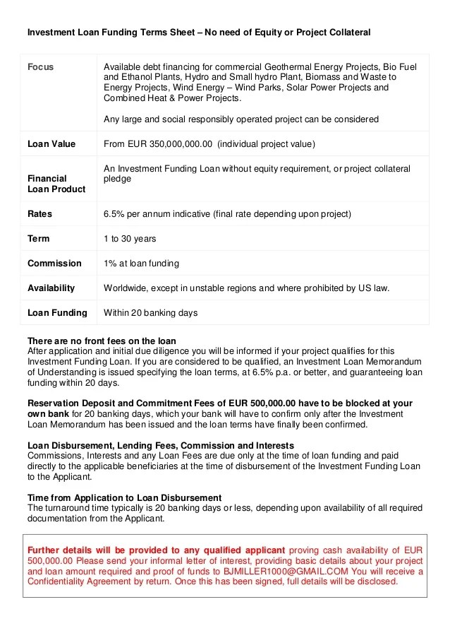 (0) CONFIDENTIAL Investment Loan Funding Terms Sheet