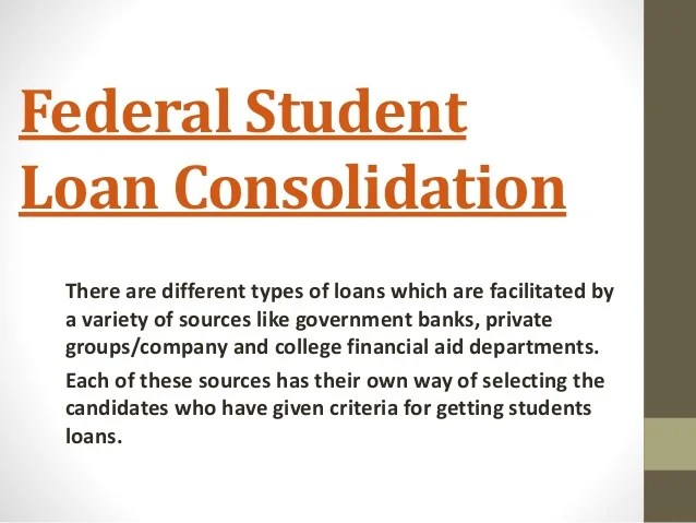 Federal Student Loan Consolidation Program USA