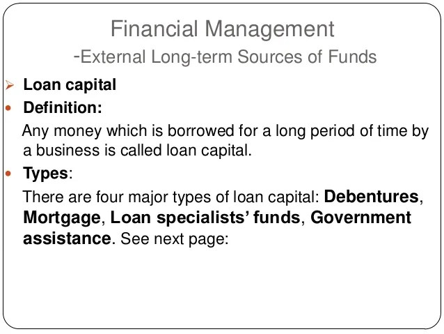 Financial management sources of funds