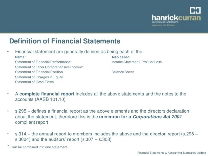 Financial statements & accounting standards update sept 2012