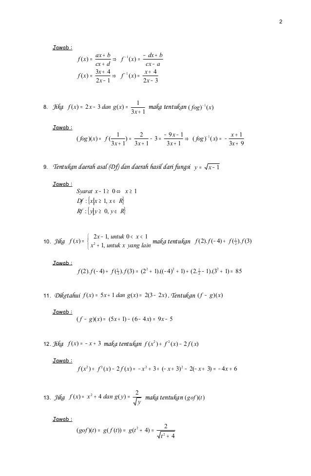 Soal Latihan dan Pembahasan Fungsi Komposisi dan Fungsi Invers