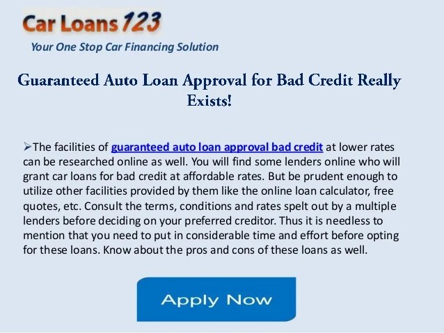 Auto Loans Guaranteed Approval Bad Credit Car Loan Guaranteed | Autos Post