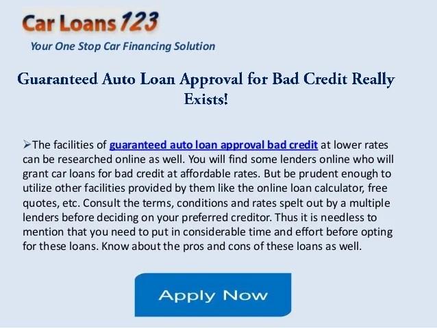 Auto Loans Guaranteed Approval Bad Credit Car Loan Guaranteed | Autos Post