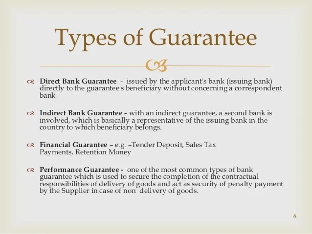 Guarantees and co acceptance