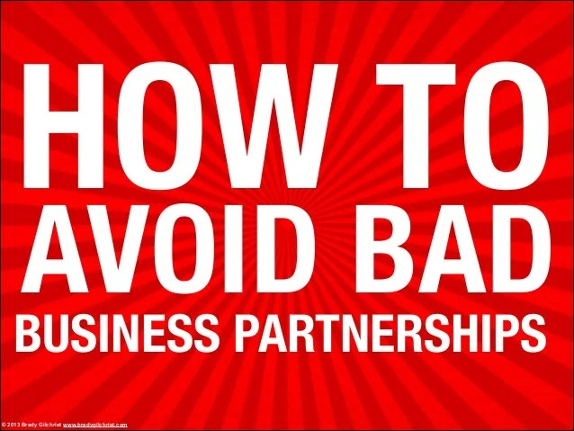 How to avoid bad business partnerships