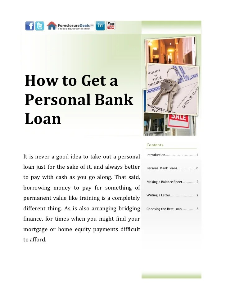 How to Get a Personal Bank Loan