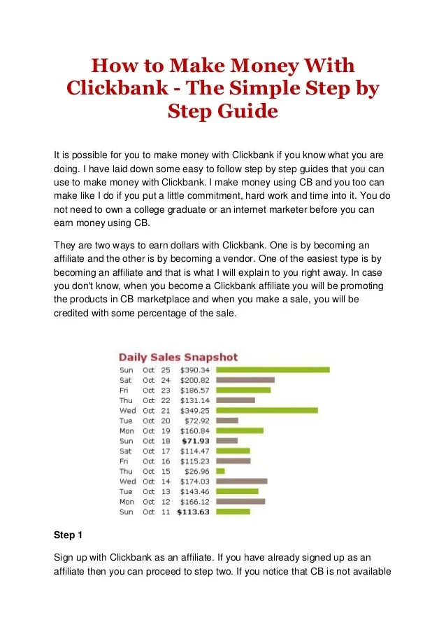 How to make money with clickbank the simple step by step guide
