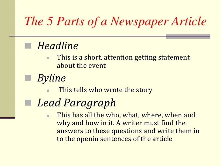 How to write a newpaper article